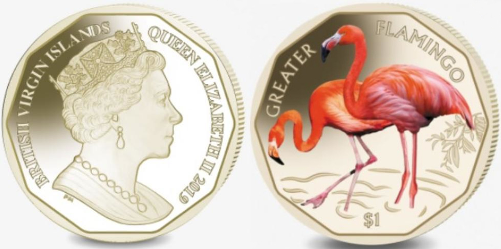 Pobjoy Mint выпустил новую памятную монету для Виргинских островов, посвященную красному фламинго
